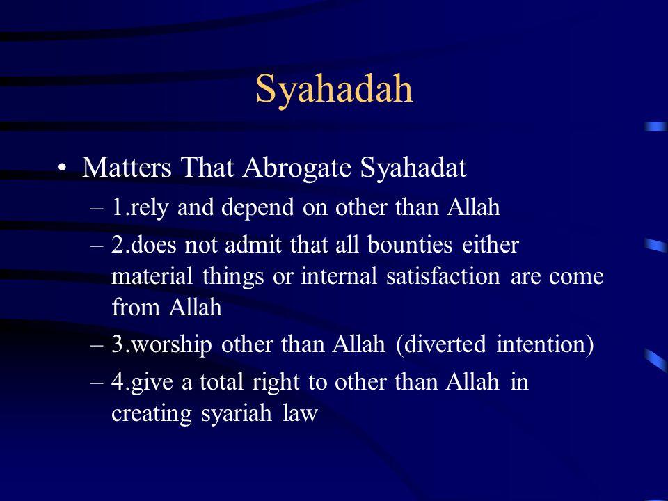 Syahadah Matters That Abrogate Syahadat