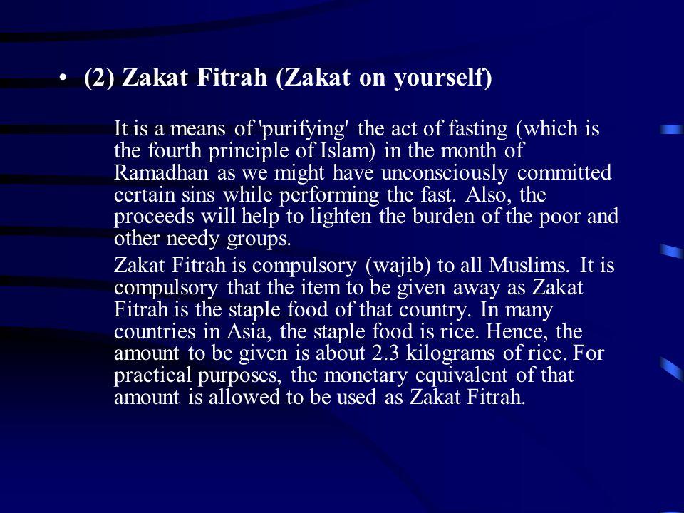 (2) Zakat Fitrah (Zakat on yourself)