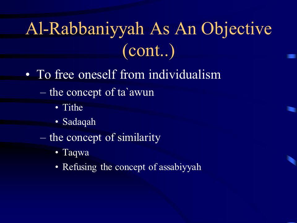 Al-Rabbaniyyah As An Objective (cont..)