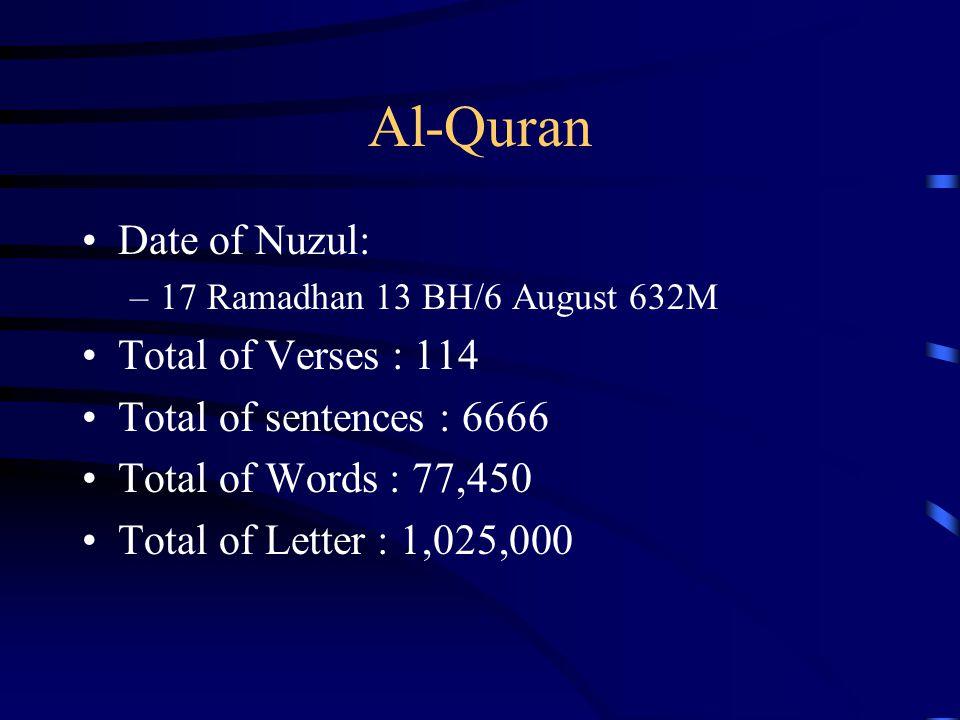 Al-Quran Date of Nuzul: Total of Verses : 114