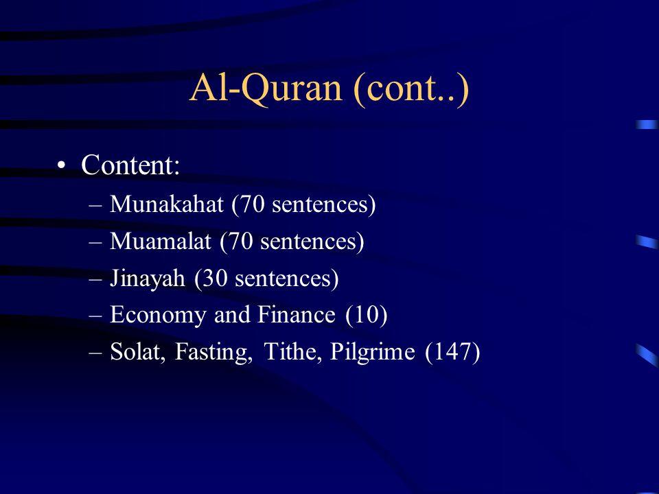 Al-Quran (cont..) Content: Munakahat (70 sentences)