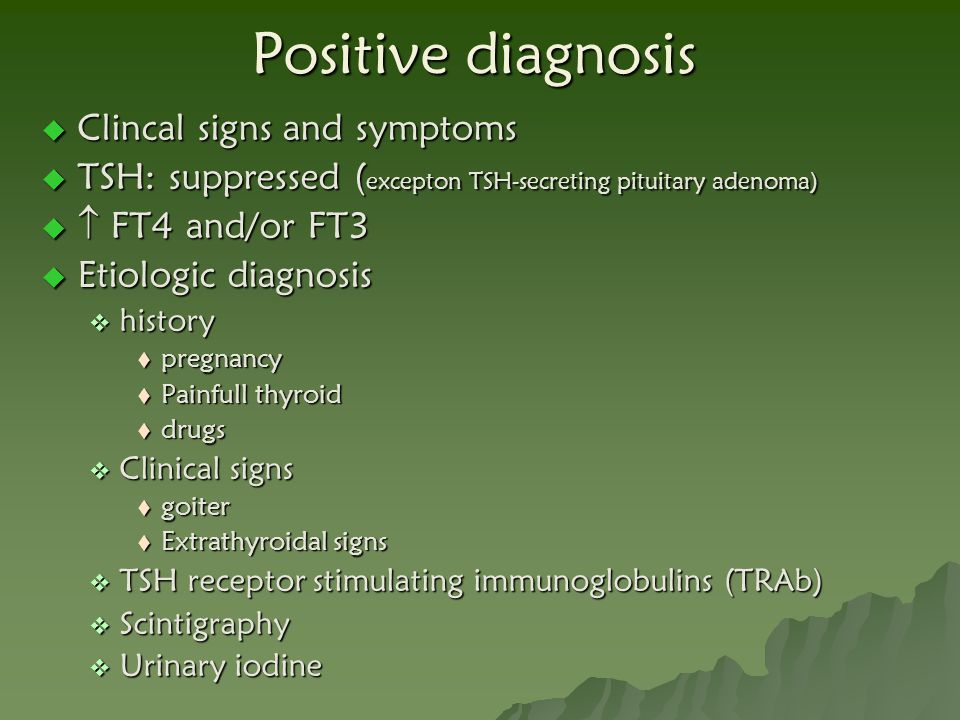 Positive diagnosis Clincal signs and symptoms