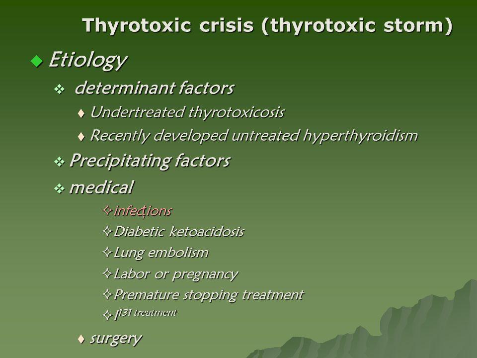 Etiology Thyrotoxic crisis (thyrotoxic storm) determinant factors