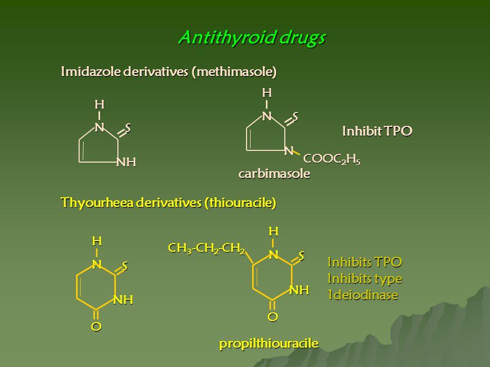 Antithyroid drugs Imidazole derivatives (methimasole) Inhibit TPO