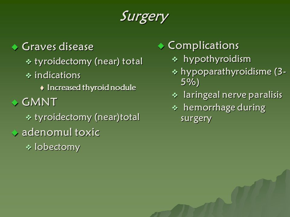 Surgery Graves disease GMNT adenomul toxic Complications