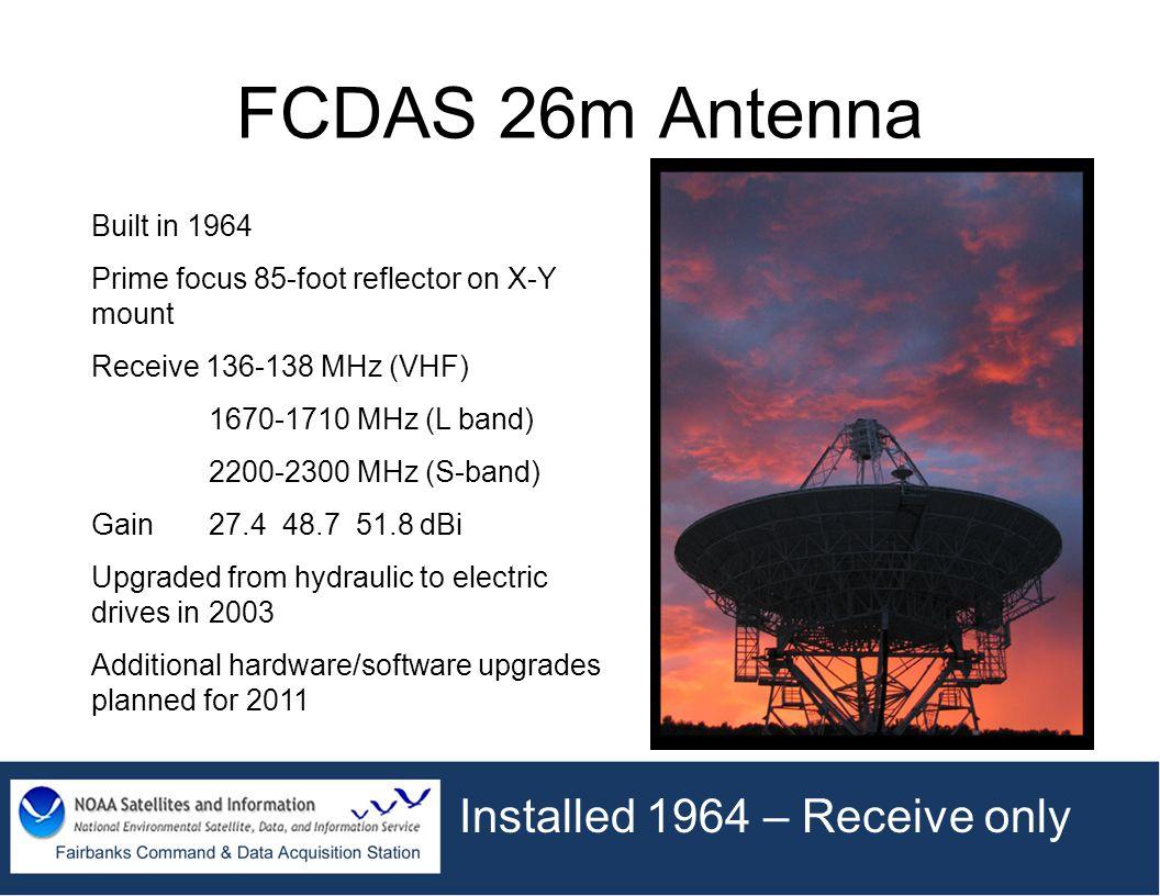 FCDAS 26m Antenna Installed 1964 – Receive only Built in 1964