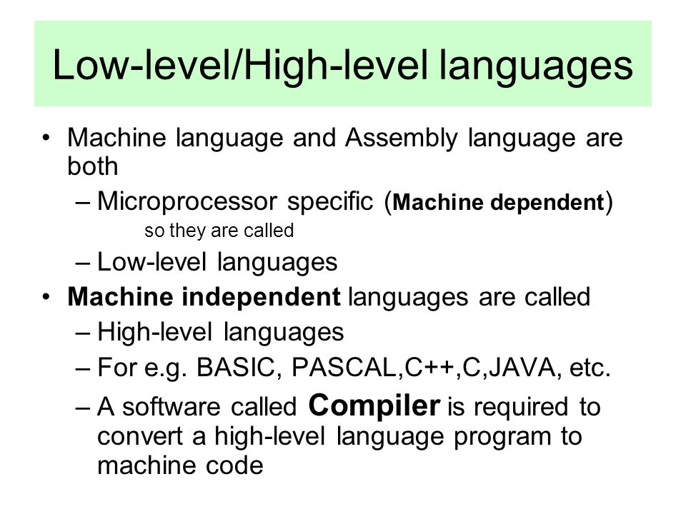 Low-level/High-level languages