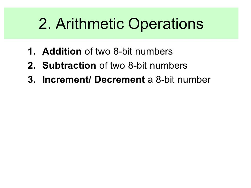 2. Arithmetic Operations