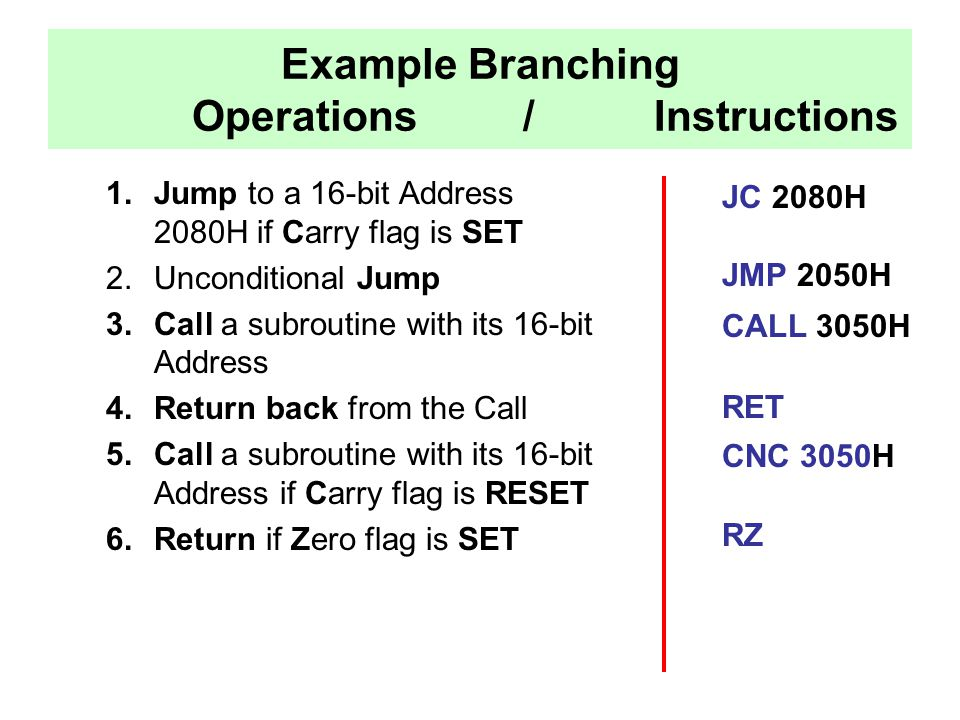 Example Branching Operations / Instructions
