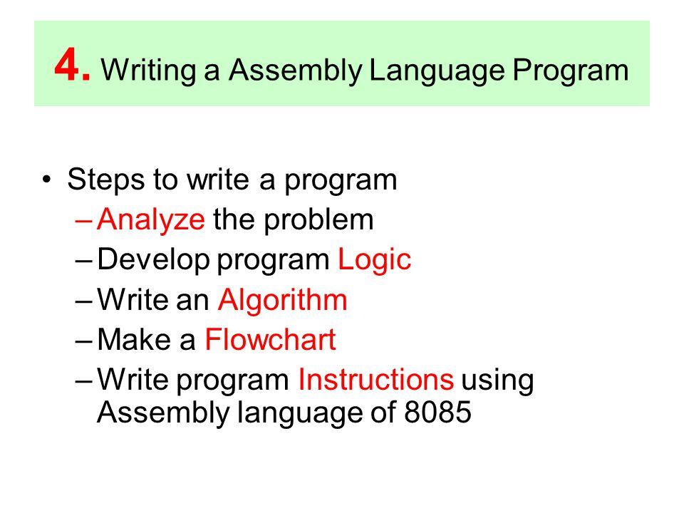 4. Writing a Assembly Language Program