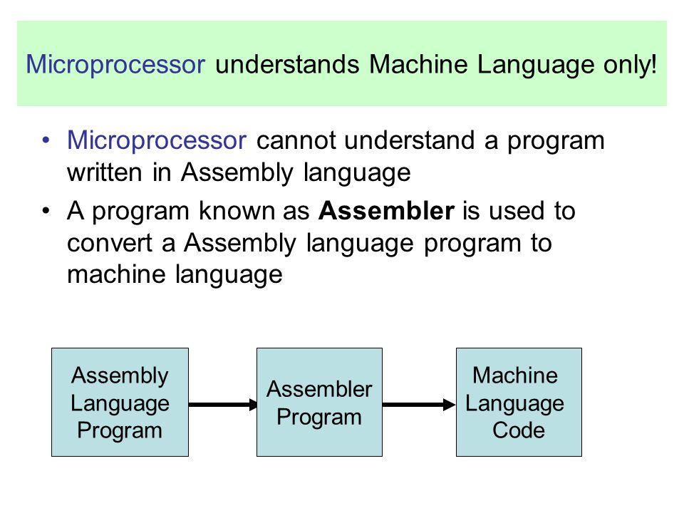 Microprocessor understands Machine Language only!