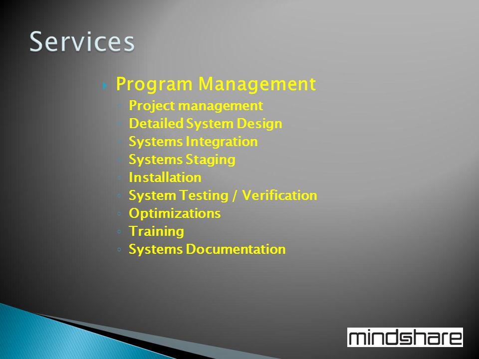 Program Management Project management Detailed System Design