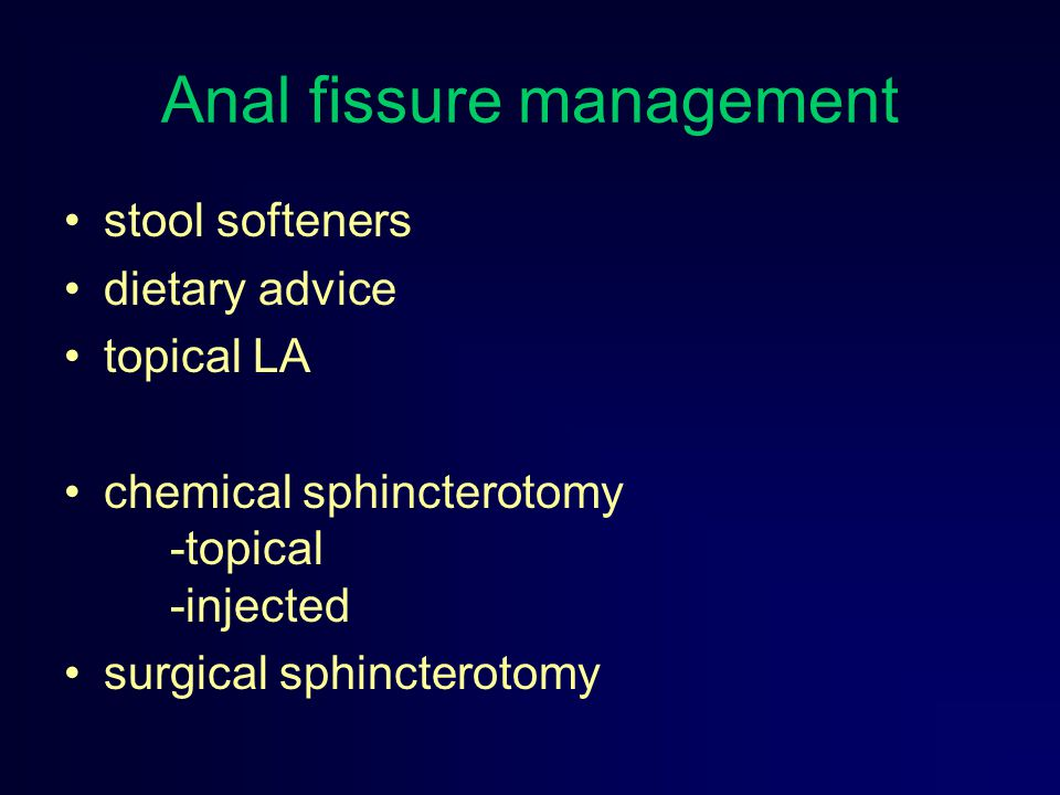 Anal fissure management
