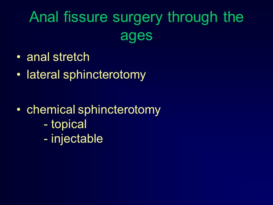 Anal fissure surgery through the ages