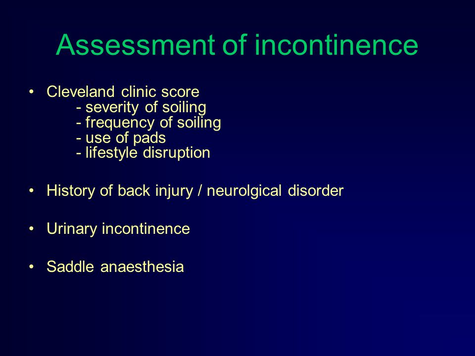 Assessment of incontinence