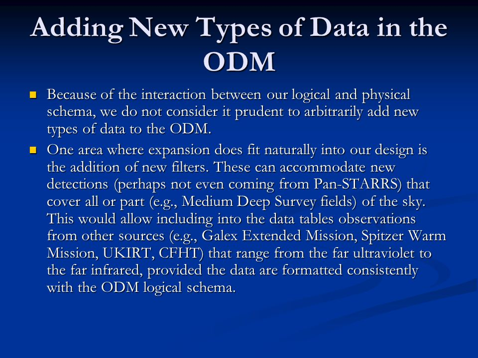 Adding New Types of Data in the ODM