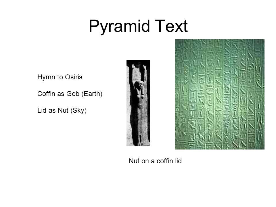 Pyramid Text Hymn to Osiris Coffin as Geb (Earth) Lid as Nut (Sky)