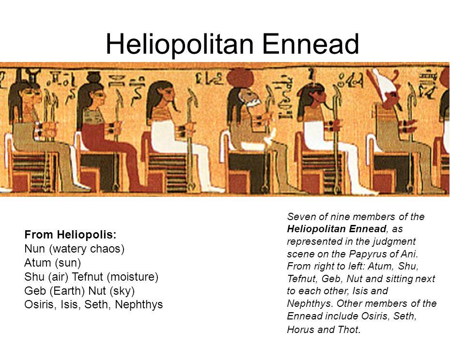 Heliopolitan Ennead From Heliopolis: Nun (watery chaos) Atum (sun)