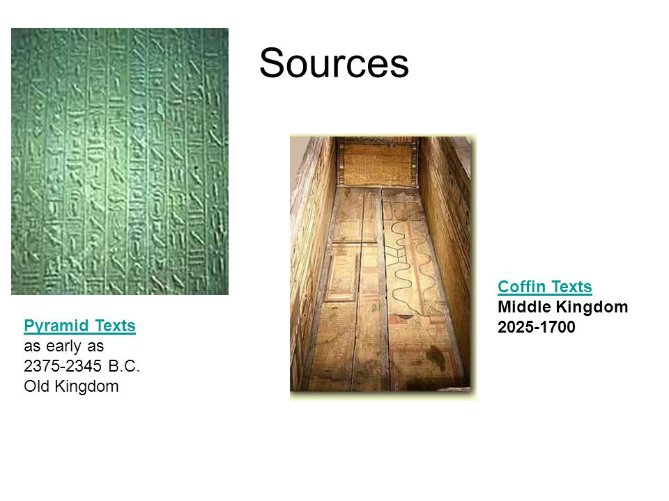 Sources Coffin Texts Middle Kingdom 2025-1700 Pyramid Texts