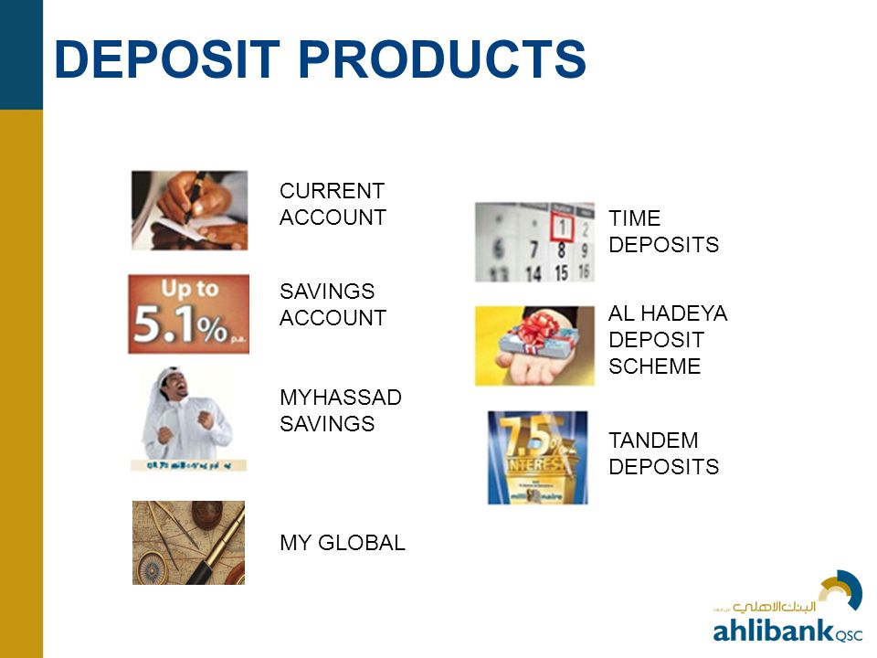 DEPOSIT PRODUCTS CURRENT ACCOUNT TIME DEPOSITS AL HADEYA DEPOSIT