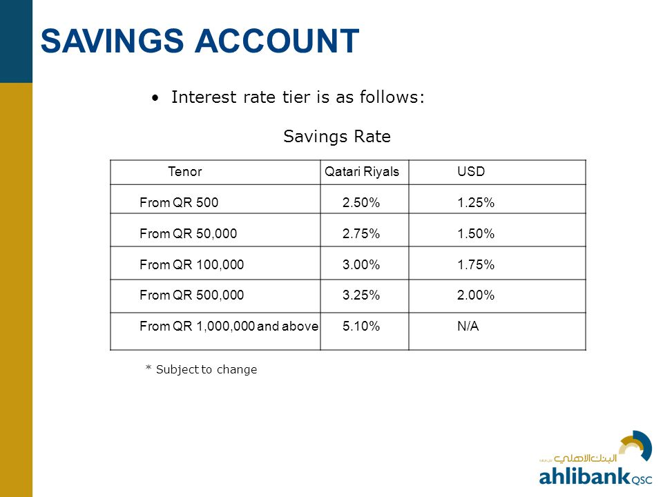SAVINGS ACCOUNT • Interest rate tier is as follows: Savings Rate Tenor