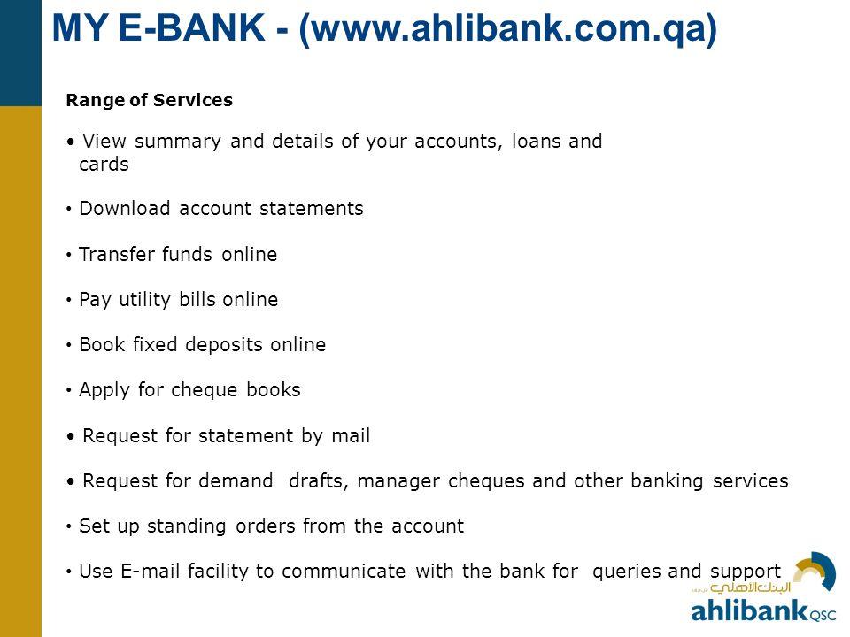 MY E-BANK - (www.ahlibank.com.qa)