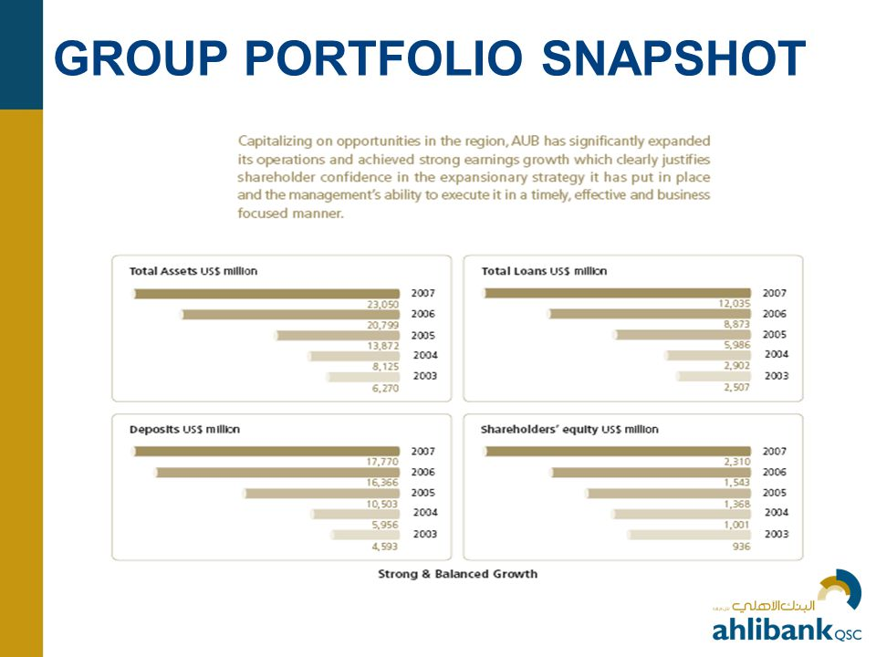 GROUP PORTFOLIO SNAPSHOT