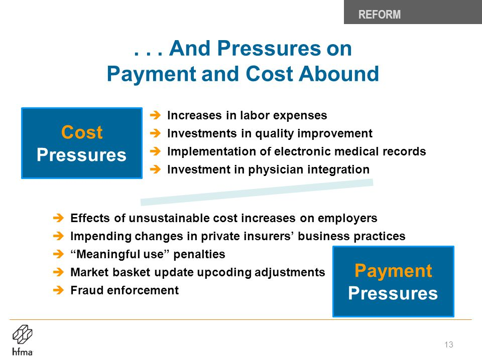 . . . And Pressures on Payment and Cost Abound