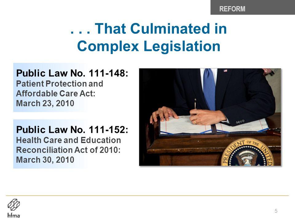 . . . That Culminated in Complex Legislation