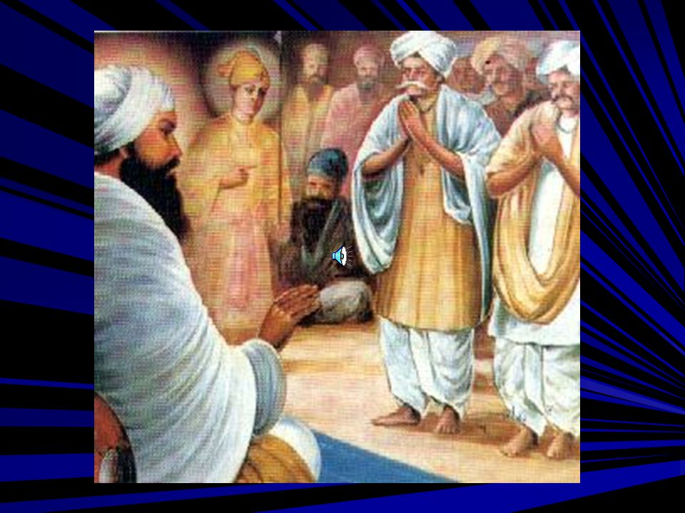 A group of brahmins approached Guru Tegh Bahadur Sahib at Anandpur Sahib to make a plea to rescue their faith. Guru Sahib listened to them and was in deep thoughts when His 8 year old son, Gobind Rai, walked in and asked about the reason for His sadness. Guru Sahib told him about the endless misery of the Kashmiri Brahmins & other non-muslims.
