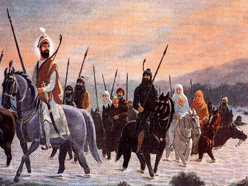 Guru Gobind Singh Ji crossing the Sarsa river with his Khalsa.
