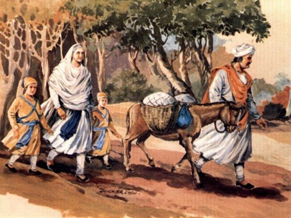 Gungu Brahmin leading Mata Gujri Ji and the teo young sahibzaday to his village Kheri.Mata Ji and Guru Ji s younger sons got separated from Guru Gobind Singh Ji when crossing the Sarsa river.