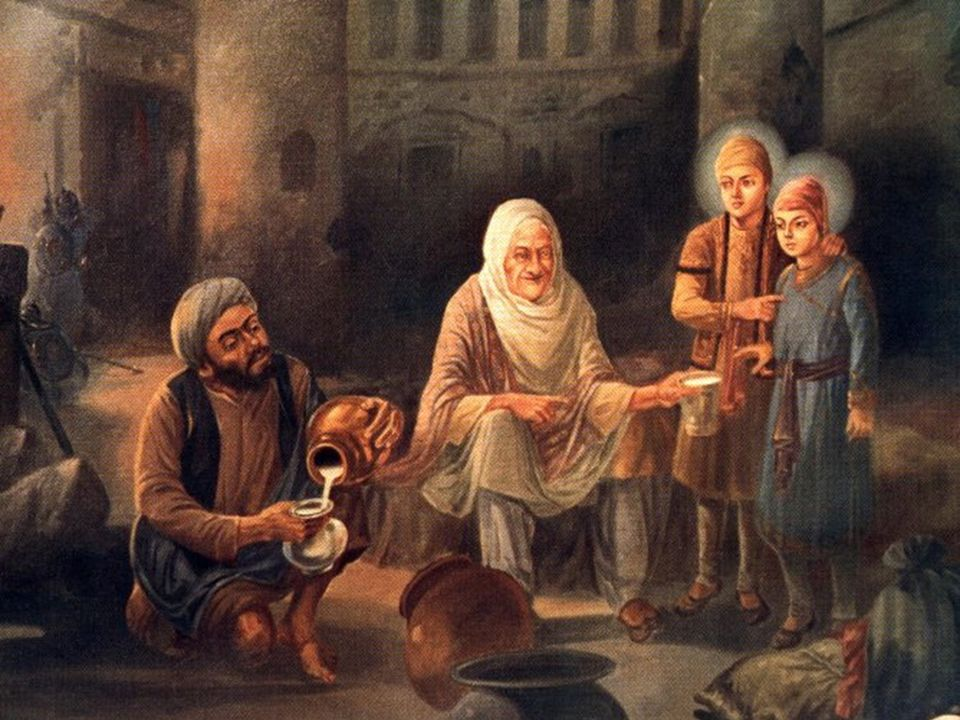 Moti Mehra serving milk to the sons of Guru Gobind Singh Ji and their grandmother.