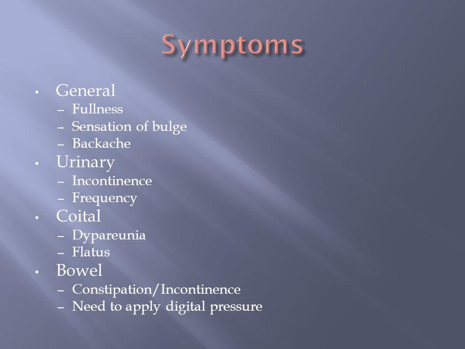 Symptoms General Urinary Coital Bowel Fullness Sensation of bulge