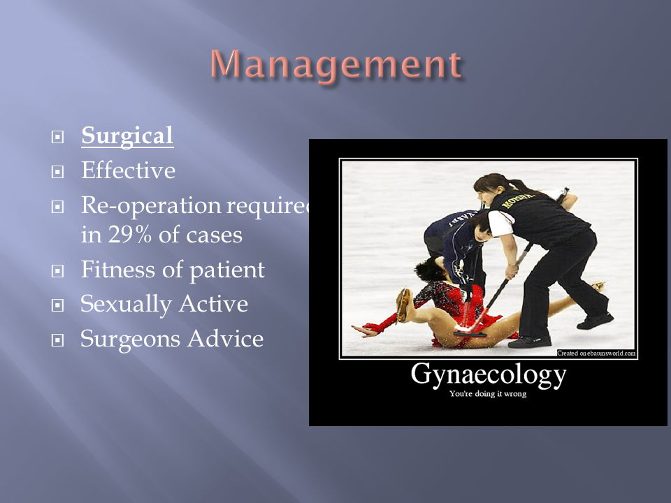 Management Surgical Effective Re-operation required in 29% of cases