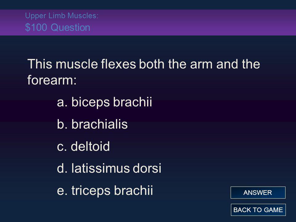 Upper Limb Muscles: $100 Question