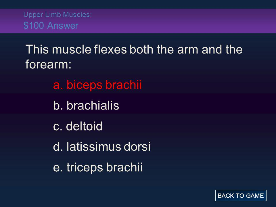 Upper Limb Muscles: $100 Answer