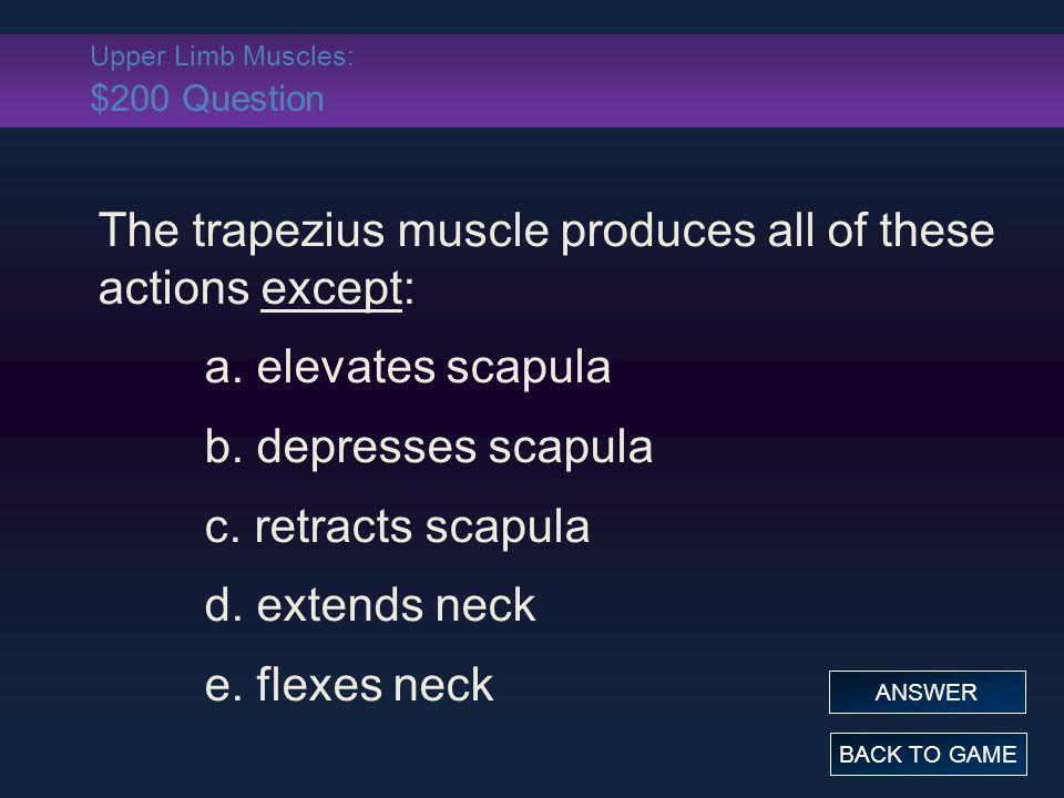 Upper Limb Muscles: $200 Question