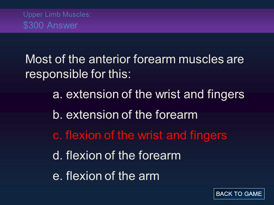 Upper Limb Muscles: $300 Answer