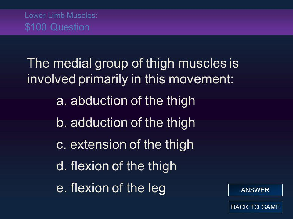 Lower Limb Muscles: $100 Question