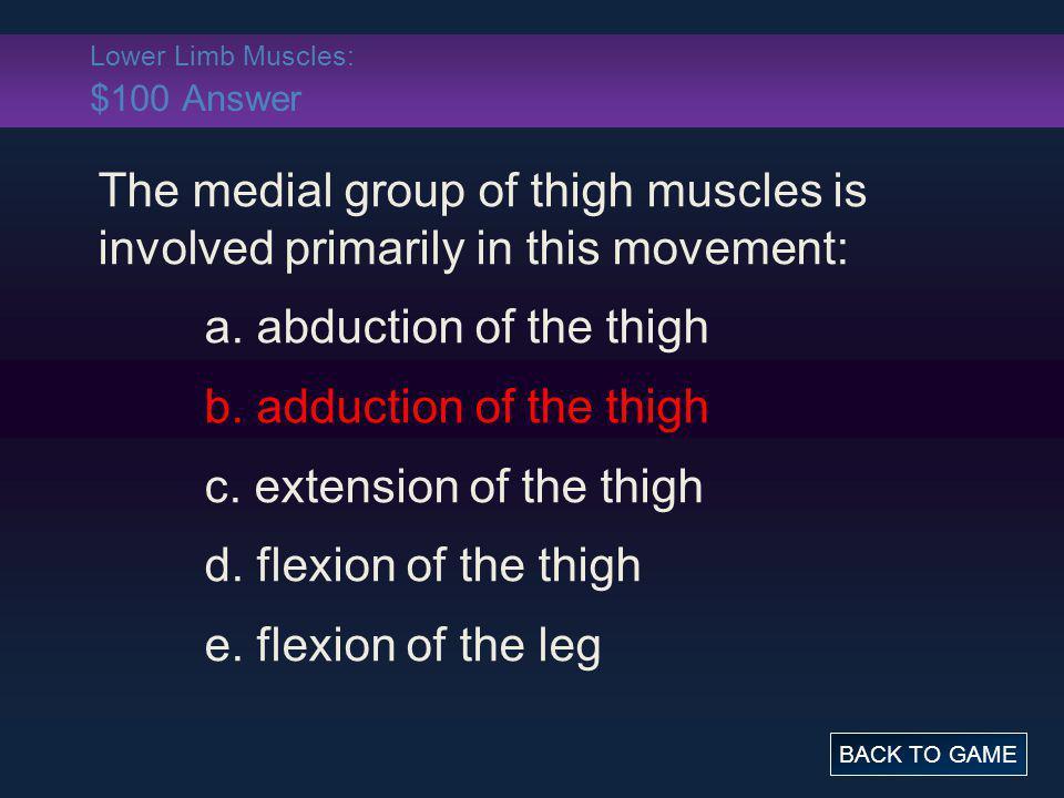 Lower Limb Muscles: $100 Answer