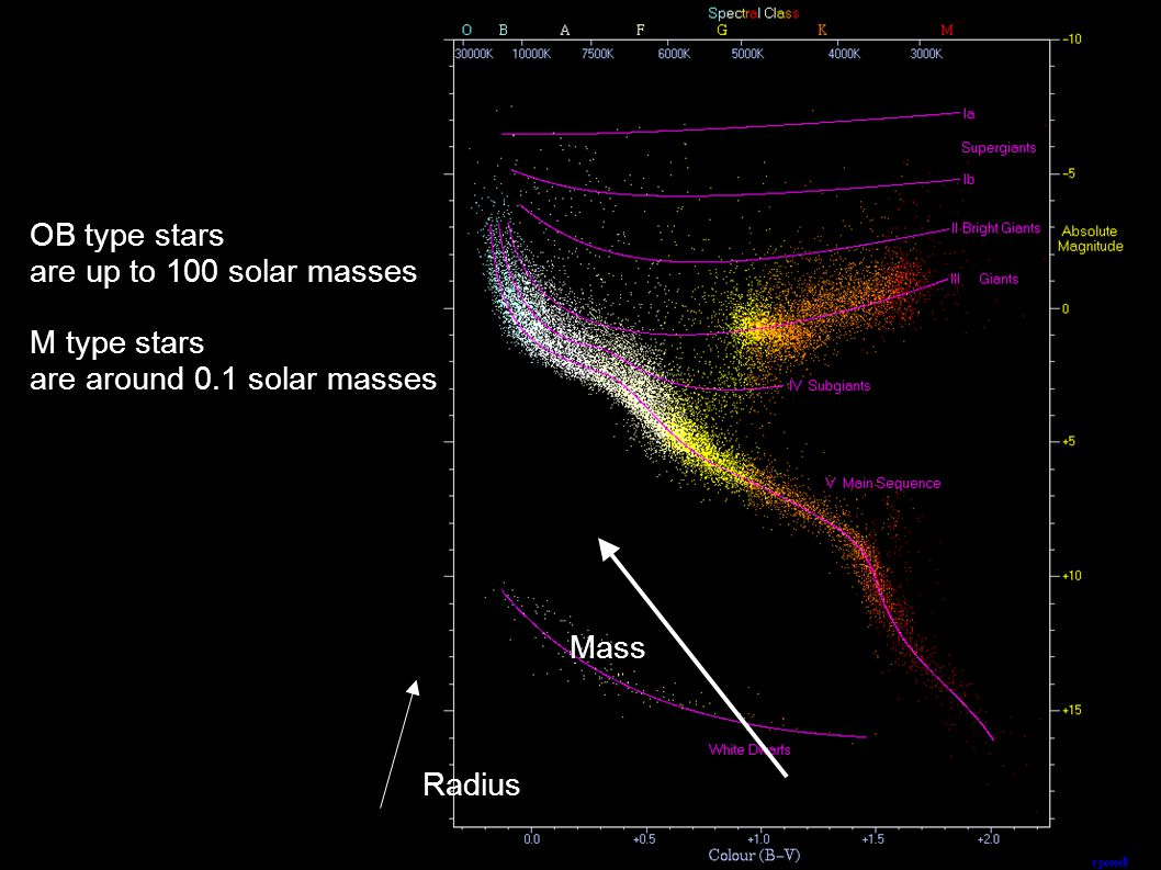 OB type stars are up to 100 solar masses M type stars are around 0.1 solar masses Mass Radius