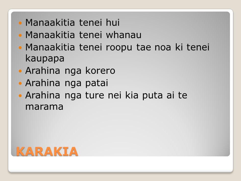 KARAKIA Manaakitia tenei hui Manaakitia tenei whanau