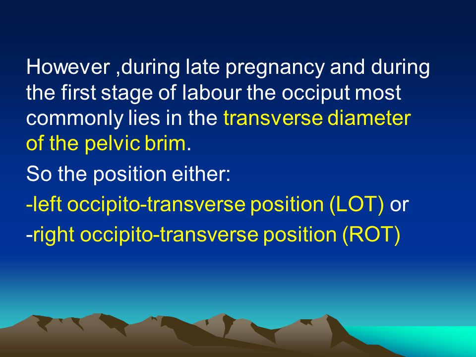 However ,during late pregnancy and during the first stage of labour the occiput most commonly lies in the transverse diameter of the pelvic brim.
