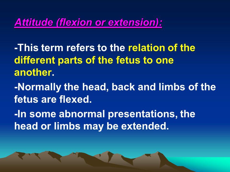 Attitude (flexion or extension):