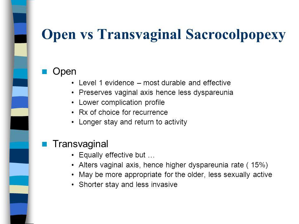Open vs Transvaginal Sacrocolpopexy
