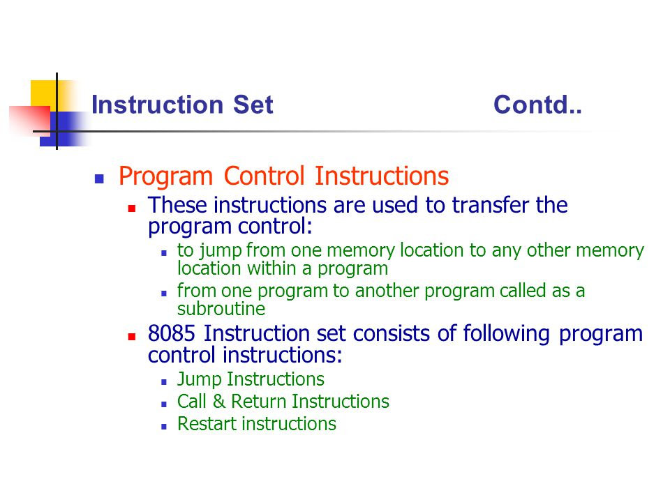 Program Control Instructions