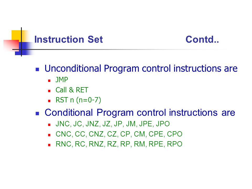 Conditional Program control instructions are