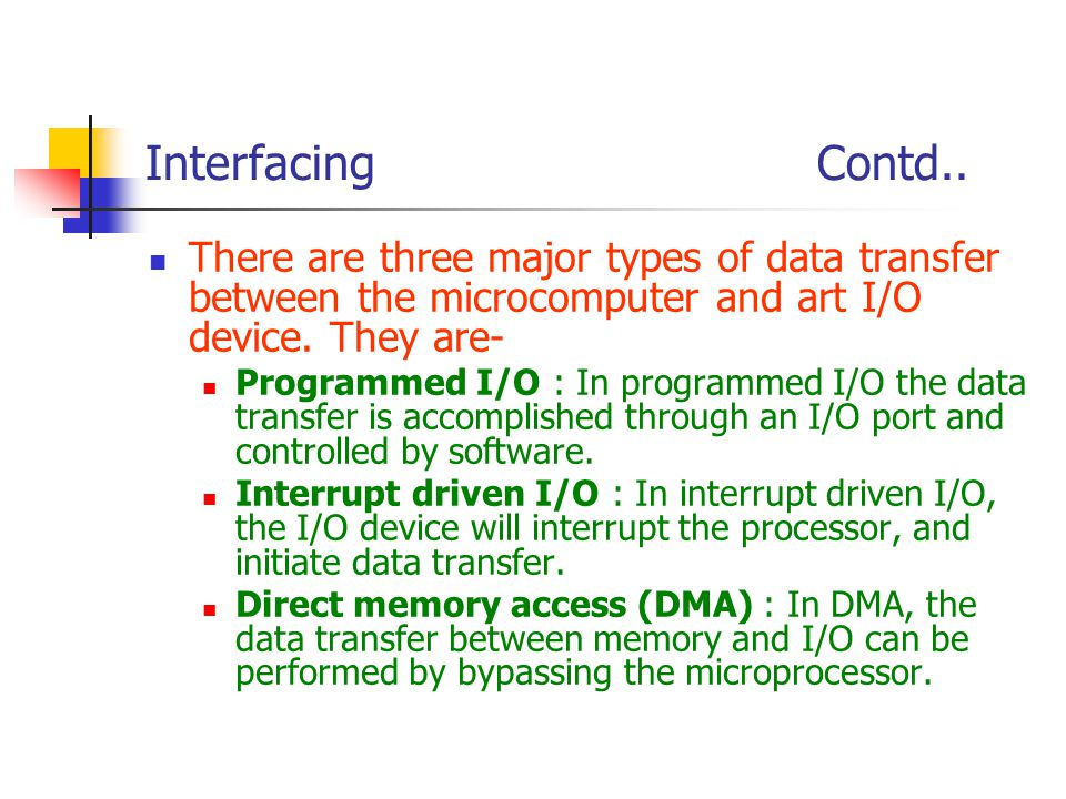 Interfacing Contd.. There are three major types of data transfer between the microcomputer and art I/O device. They are-