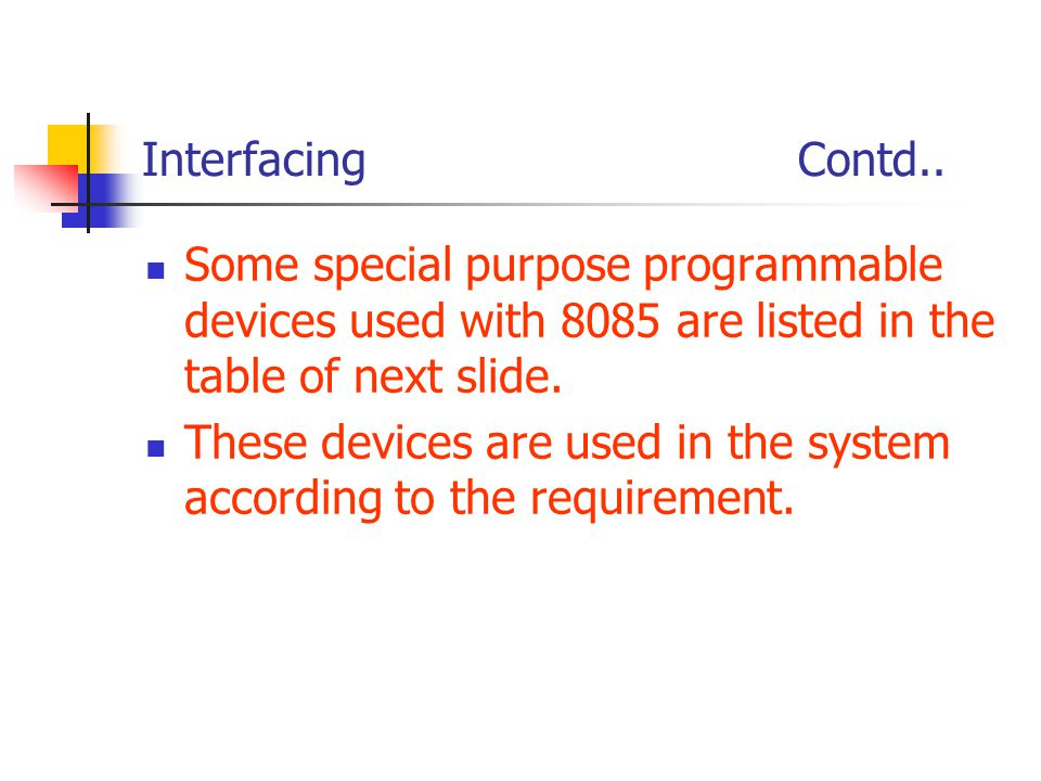 Interfacing Contd.. Some special purpose programmable devices used with 8085 are listed in the table of next slide.